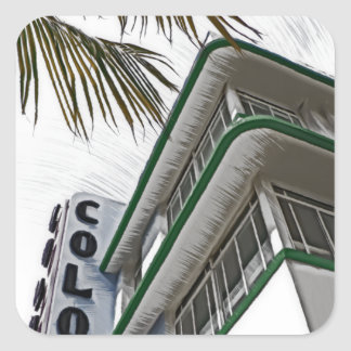 Hotel de la colonia, Miami, FL Pegatina Cuadrada