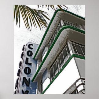 Hotel de la colonia, Miami, FL Póster