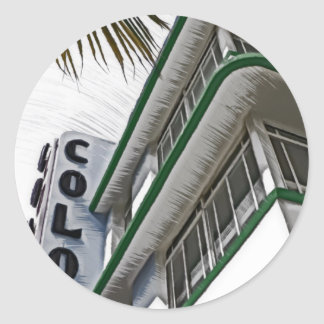 Hotel de la colonia, Miami Pegatina Redonda