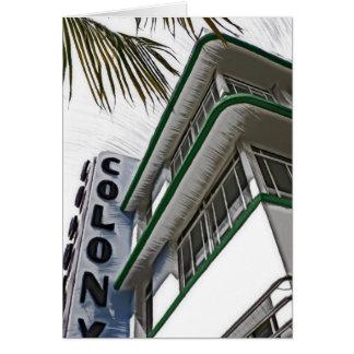 Hotel de la colonia, Miami Tarjeta De Felicitación
