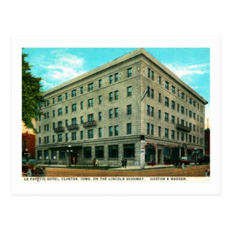 Hotel de Lafayette, Clinton, vintage de Iowa Postales