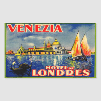 Hotel de Londres (Venezia Italy) Rectangular Sticker