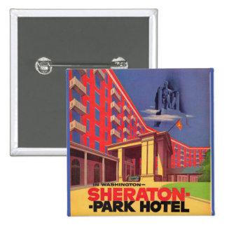 hotel de parque de Sheraton de los años 50 - Pin Cuadrado