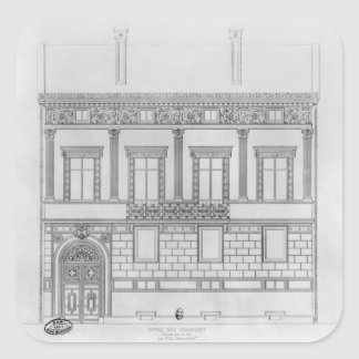 Hotel de Pourtales, facade, 1850 Square Sticker