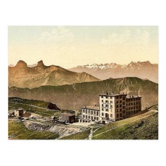 Hotel de Rochers de Naye Grand, y ferrocarril, Gin Tarjetas Postales