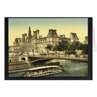 Hotel de ville, obra clásica Photochrom de París,  Tarjeta