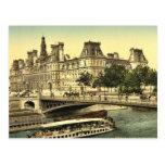 Hotel de ville, obra clásica Photochrom de París,  Tarjetas Postales