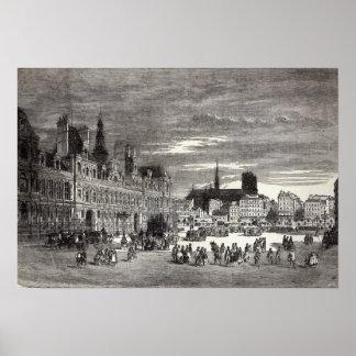 Hotel de Ville, Paris, 1847 Print