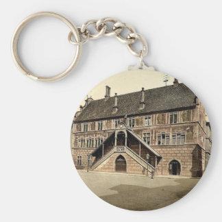 Hotel de Ville (town hall), Mulhausen, Alsace Lorr Basic Round Button Keychain