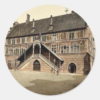 Hotel de Ville (town hall), Mulhausen, Alsace Lorr Round Sticker