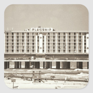 Hotel del buque insignia pegatina cuadrada