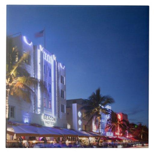 Hotel del faro, impulsión del océano, Miami Beach  Azulejo Cuadrado Grande