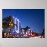 Hotel del faro, impulsión del océano, Miami Beach  Poster