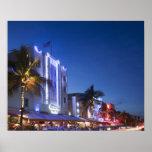 Hotel del faro, impulsión del océano, Miami Beach  Póster