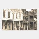 Hotel del pueblo fantasma del vintage etiqueta