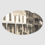Hotel del pueblo fantasma del vintage colcomanias de oval