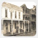 Hotel del pueblo fantasma del vintage calcomanías cuadradases