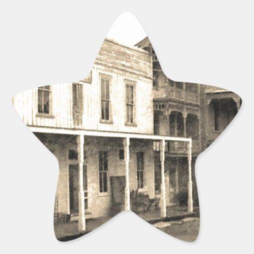 Hotel del pueblo fantasma del vintage pegatina en forma de estrella