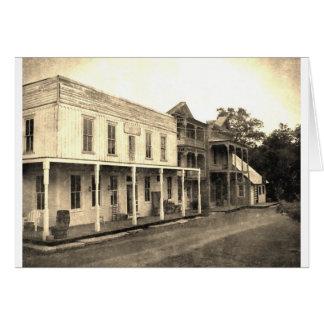 Hotel del pueblo fantasma del vintage tarjeta de felicitación