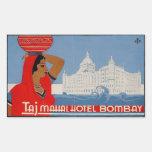 Hotel del Taj Mahal (Bombay la India) Pegatina Rectangular