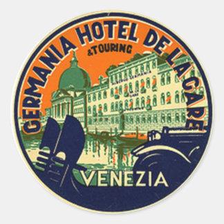 Hotel del vintage y pegatina del viaje