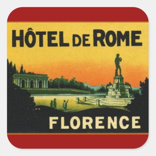HOTEL DeROME de Florencia Italia Calcomania Cuadradas Personalizada