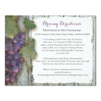 Hotel Driving Directions Winery Vineyard Grape Card