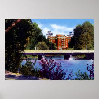 Hotel el río Truckee de la orilla de Reno Nevada Póster