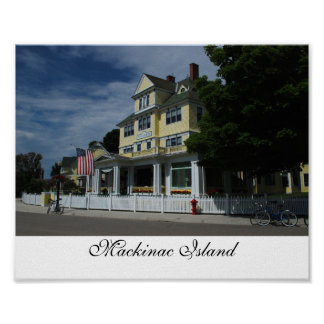 Hotel en la impresión de la isla de Mackinac Póster
