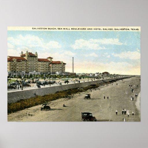 Hotel Galvez, Galveston, Texas 1924 Vintage Poster