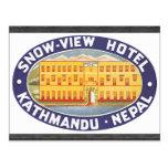 Hotel Katmandu Nepal, vintage de la Nieve-Vista Postal