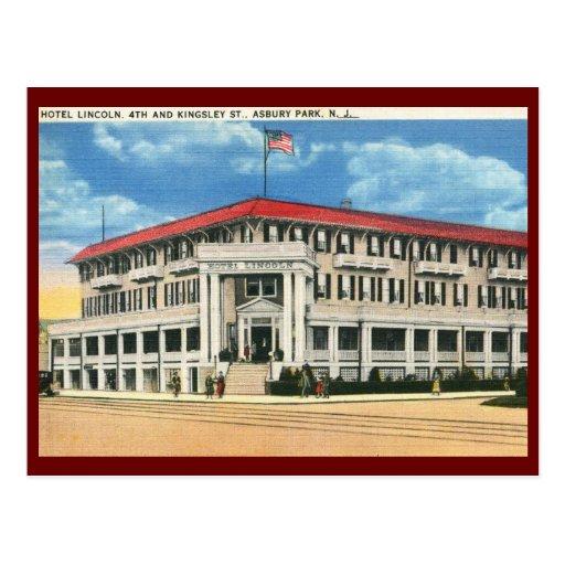 Hotel Lincoln, parque de Asbury, vintage de NJ Tarjetas Postales