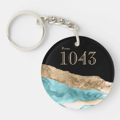 Hotel lodge resort marble stone faux gold blue keychain