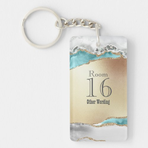 Hotel lodge resort room blue white gold marble keychain