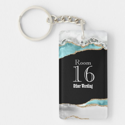 Hotel lodge resort room key blue white gold marble keychain