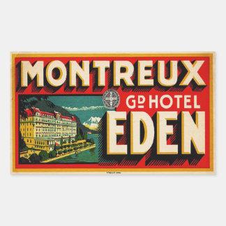 Hotel magnífico Eden (Montreux Francia) Pegatina Rectangular