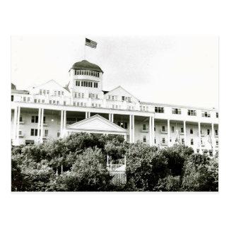 Hotel magnífico, isla de Mackinac, blanco y negro Tarjeta Postal
