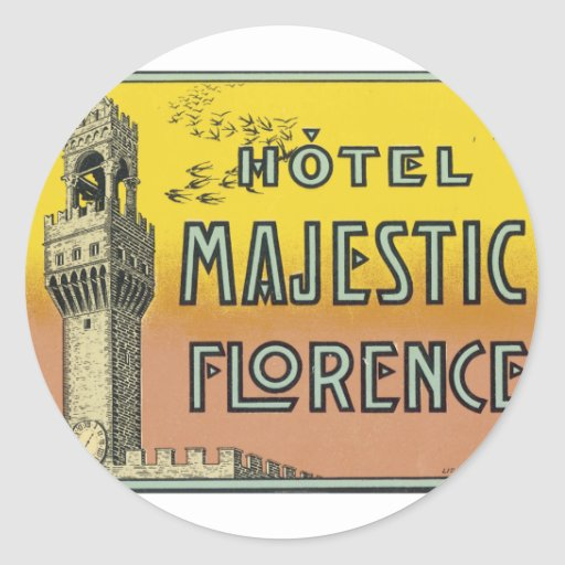 Hotel Majestic Florence Classic Round Sticker