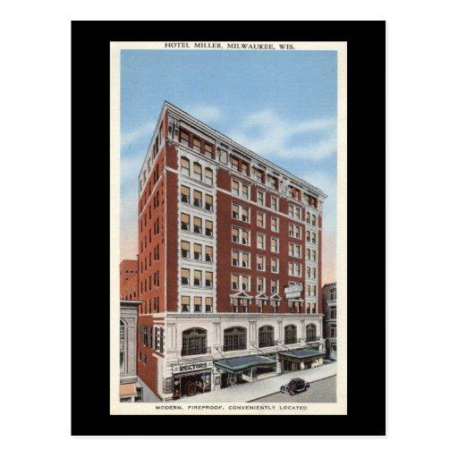Hotel Miller, vintage de los WI de Milwaukee Postal