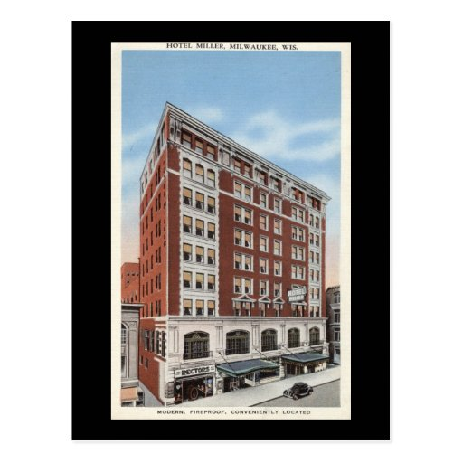 Hotel Miller, vintage de los WI de Milwaukee Tarjeta Postal