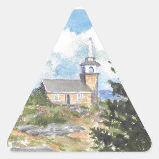 Hotel oceánico en la opinión de la isla de la pegatina triangular