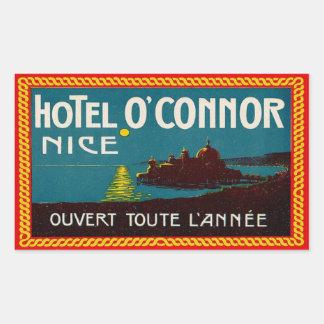 Hotel O'Connor (Niza Francia) Rectangular Pegatina