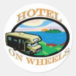hotel-on-wheels round sticker