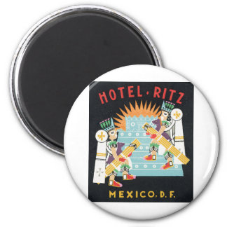 Hotel Ritz, Mexico, DF Advertisement Graphic 2 Inch Round Magnet