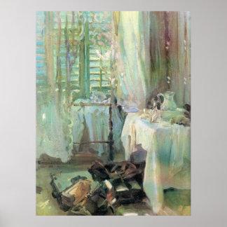 Hotel Room by Sargent, Vintage Victorian Fine Art Poster