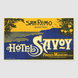 Hotel Savoy San Remo Italy Rectangle Stickers