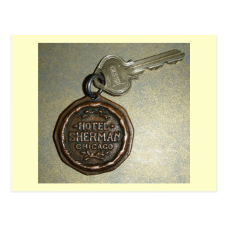 Hotel Sherman, Key and Fob, Chicago Vintage Postcard