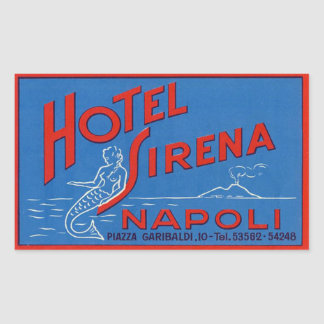 Hotel Sirena Naples Italy Rectangular Sticker