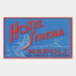 Hotel Sirena (Nápoles Italia) Pegatina Rectangular