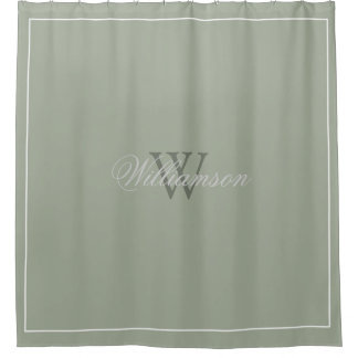 Hotel Style Desert Sage Green With Name U0026amp; Monogram Shower Curtain